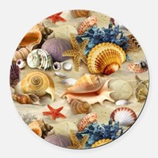 Sea Shells Round Car Magnet