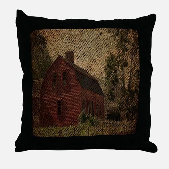 rustic burlap farm barn Throw Pillow