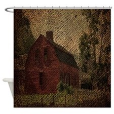 rustic burlap farm barn Shower Curtain
