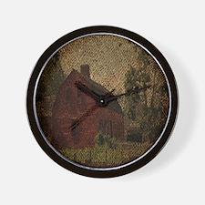 rustic burlap farm barn Wall Clock