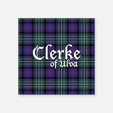 "Tartan - Clerke of Ulva Square Sticker 3"" x 3"""
