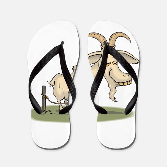 Cartoon Funny Old Goat Flip Flops