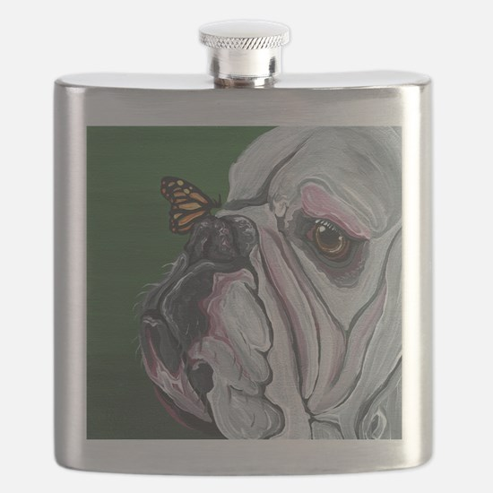 English Bulldog and Butterfly Flask
