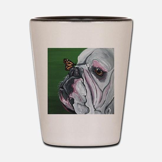 English Bulldog and Butterfly Shot Glass