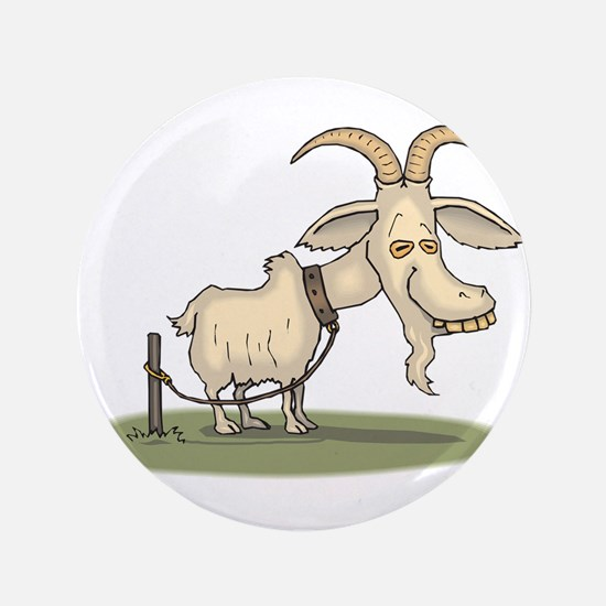 Cartoon Funny Old Goat Button