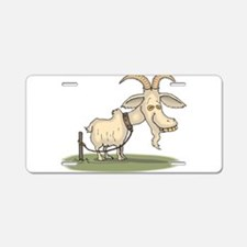 Cartoon Funny Old Goat Aluminum License Plate