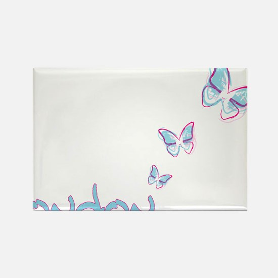 3 blue butterflies Rectangle Magnet