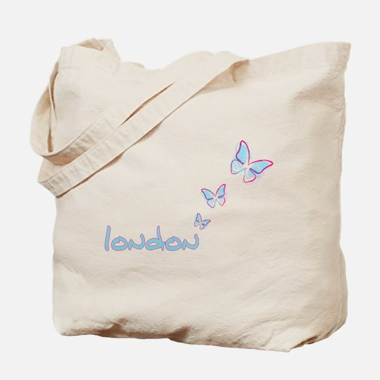 3 blue butterflies Tote Bag