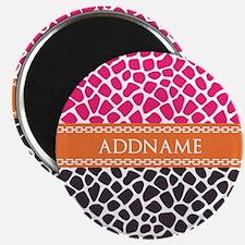 Personalized Pink Orange Giraffe Pattern Magnet