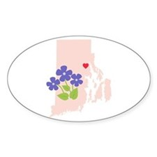 Rhode Island State Outline Violet Flower Decal