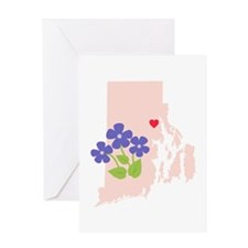 Rhode Island State Outline Violet Flower Greeting