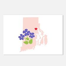 Rhode Island State Outline Violet Flower Postcards