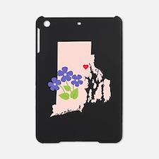 Rhode Island State Outline Violet Flower iPad Mini