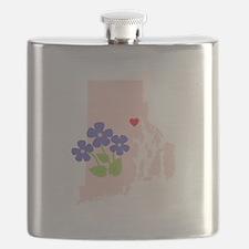 Rhode Island State Outline Violet Flower Flask