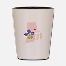 Rhode Island State Outline Violet Flower Shot Glas