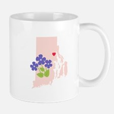 Rhode Island State Outline Violet Flower Mugs
