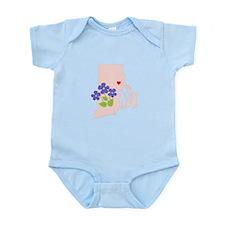 Rhode Island State Outline Violet Flower Body Suit