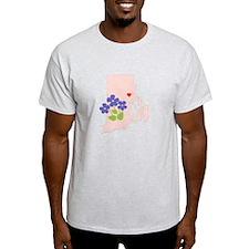 Rhode Island State Outline Violet Flower T-Shirt