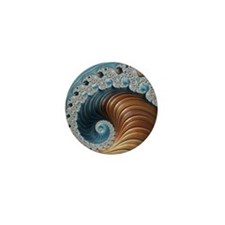 Fractal Brown Blue Abstract Mini Button