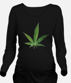 POT LEAF Long Sleeve Maternity T-Shirt