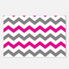 Hot Pink and Gray Chevron Pattern Postcards (Packa