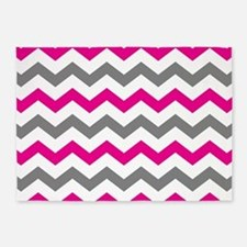 Hot Pink And Gray Chevron Pattern 5 X7 Area Rug