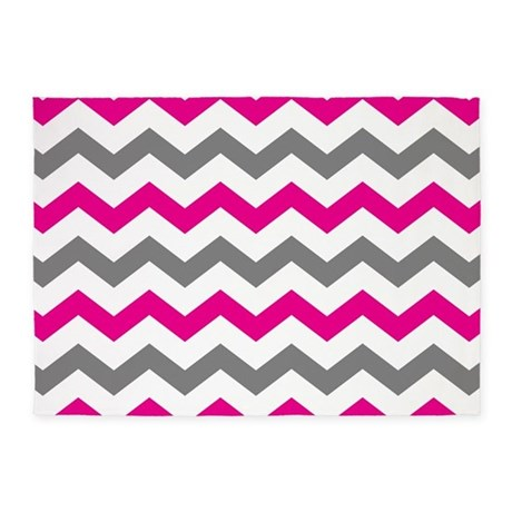 Hot Pink And Gray Chevron Pattern 5u0027x7u0027Area Rug