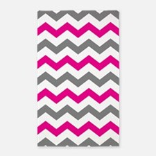 Hot Pink and Gray Chevron Pattern Area Rug