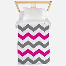 Hot Pink and Gray Chevron Pattern Twin Duvet
