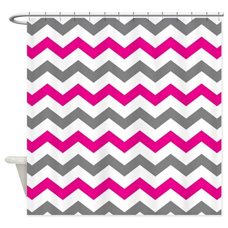 Hot Pink And Gray Chevron Pattern Shower Curtain By Printcreekstudio
