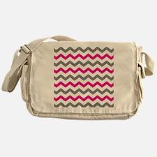 Hot Pink and Gray Chevron Pattern Messenger Bag