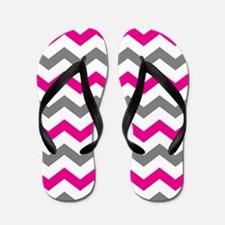 Hot Pink and Gray Chevron Pattern Flip Flops