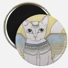 White Cat art Magnet