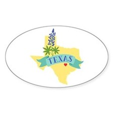 Texas State Outline Bluebonnet Flower Decal