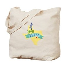 Texas State Outline Bluebonnet Flower Tote Bag