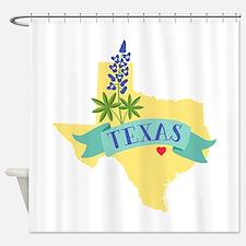 Texas State Outline Bluebonnet Flower Shower Curta