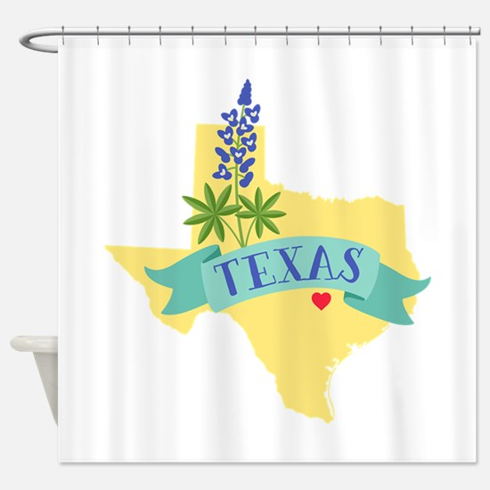 Texas State Outline Bluebonnet Flower Shower Curta