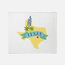 Texas State Outline Bluebonnet Flower Throw Blanke