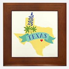 Texas State Outline Bluebonnet Flower Framed Tile
