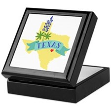 Texas State Outline Bluebonnet Flower Keepsake Box