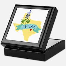 Texas State Outline Bluebonnet Flower Keepsake Box