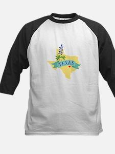 Texas State Outline Bluebonnet Flower Baseball Jer