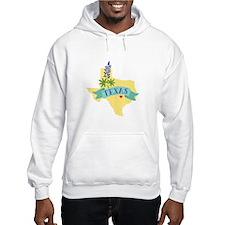 Texas State Outline Bluebonnet Flower Hoodie
