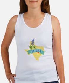 Texas State Outline Bluebonnet Flower Tank Top