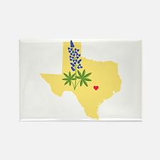 Texas State Outline Bluebonnet Flower Magnets