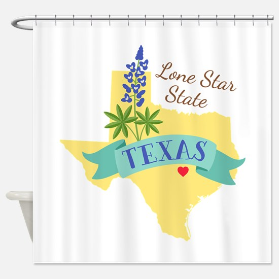 Texas Lone Star State Outline Bluebonnet Flower Sh