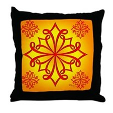 Red Ornate Design Throw Pillow