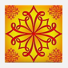 Red Ornate Design Tile Coaster
