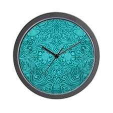 Teal Green Faux Suede Leather Floral De Wall Clock