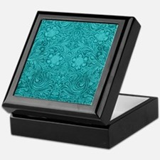 Teal Green Faux Suede Leather Floral Keepsake Box